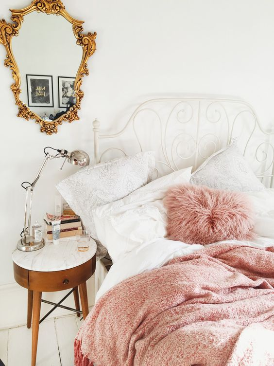 pink and gold girly interior