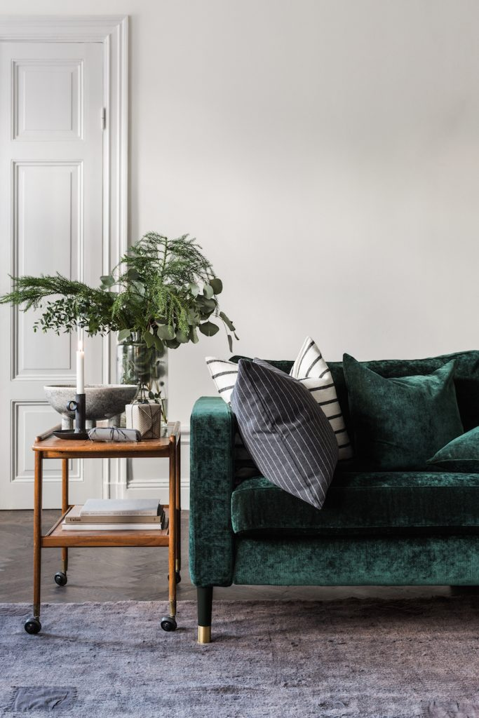 Green-Velvet-Sofa-with-Wood-Side-Table